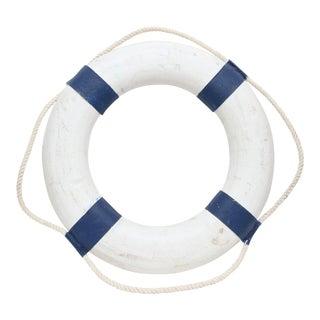Vintage Hand Painted Nautical Navy Blue & White Life Preserver