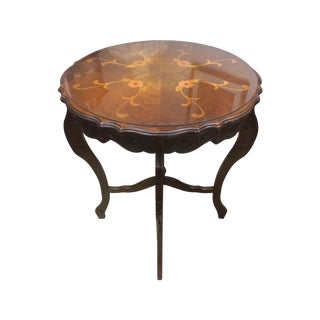 Circular Hand-Carved Inlay Entry Table