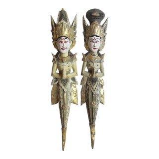 Thai Diety Wood Carvings - a Pair