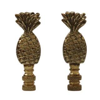 Brass Pineapple Finials - A Pair