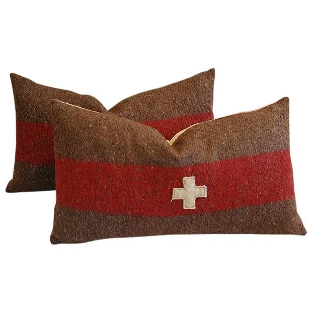 Swiss Wool Appliqué Cross Lumbar Pillows - Pair - Image 1 of 8