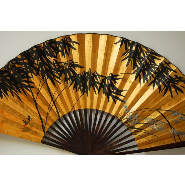 Gilt Painted Japanese Folding Wall Fan - Image 2 of 5