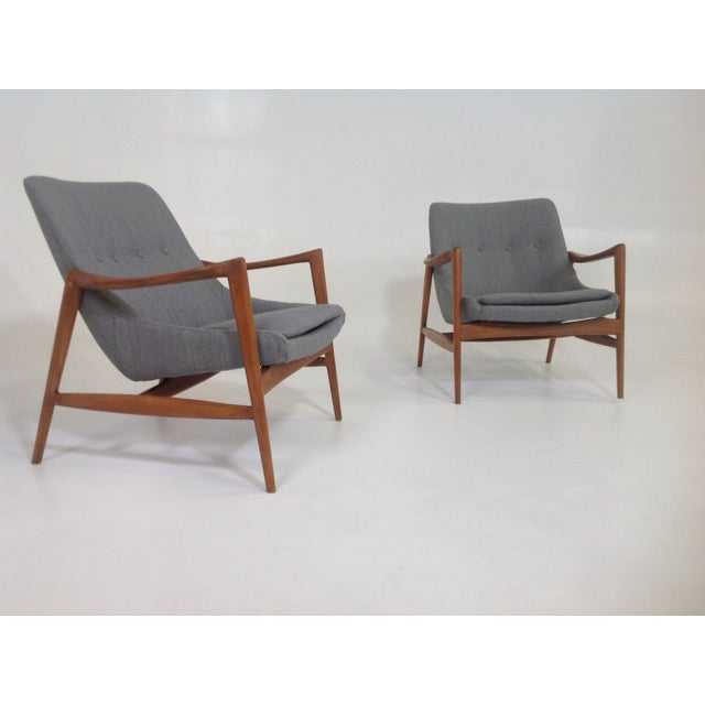 Image of Gray Chenille Mid-Century Lounge Chairs - A Pair