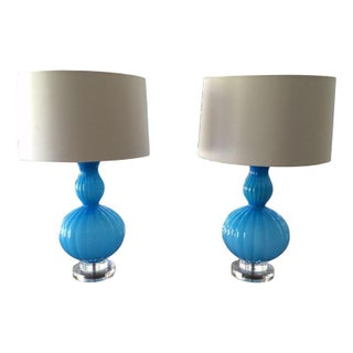 Blue Glass Paula Lamps - A Pair