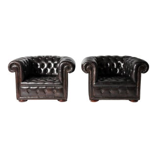 Pair of Espresso Brown Leather Chesterfield Club Chairs