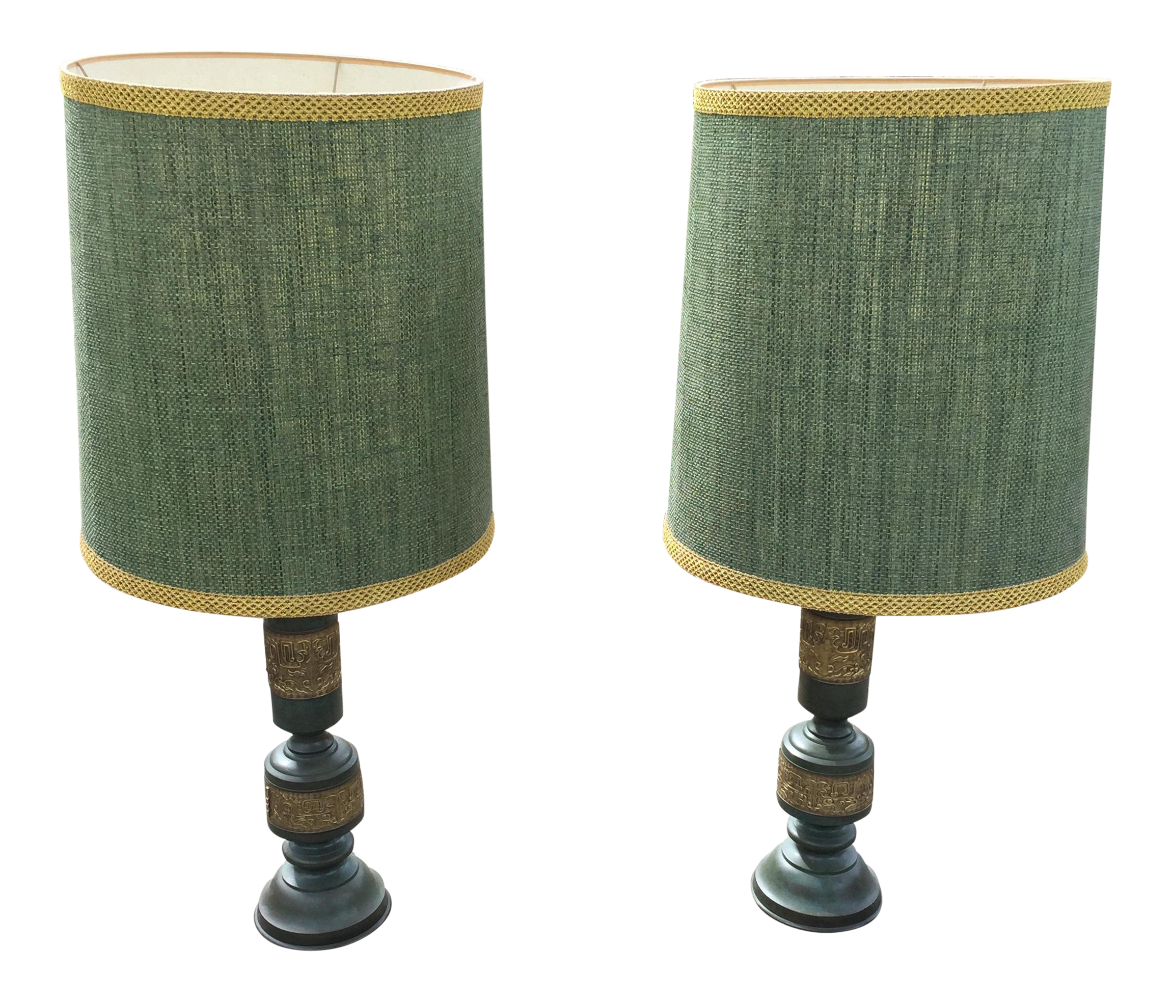 Mid Century James Mont Style Oversized Table Lamps