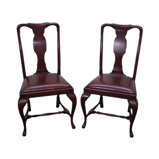 Queen Anne Custom Quality Leather Seat Side Chairs - a Pair