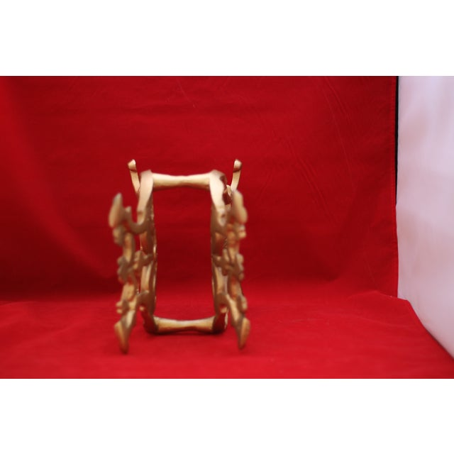 Vintage Gold Cast Metal Footed Lyre Stand - Image 5 of 6