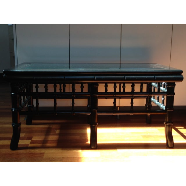 Black Faux Bamboo Coffee Table With Glass Top - Image 2 of 8