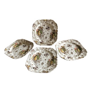 Autumn's Delight Thanksgiving Square Dessert Luncheon Salad Plates - Set of 4