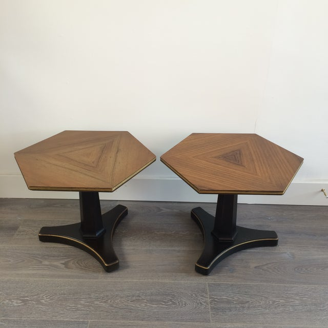 Henredon Hexagonal Walut Side Tables - A Pair - Image 2 of 11