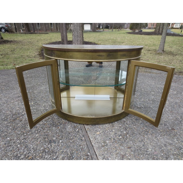 Mastercraft 1970s Lighted Demi-Lune Brass Console - Image 8 of 10