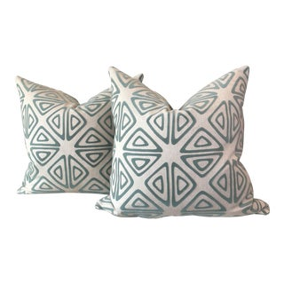 Aqua Velvet on Linen Pillows - A Pair