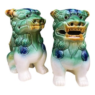 Hand Painted Ceramic Foo Dogs - A Pair