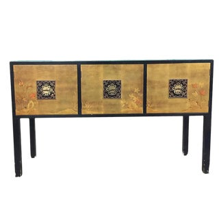 James Mont Style Asian Inspired Console Cabinet with Hand-Painted Doors