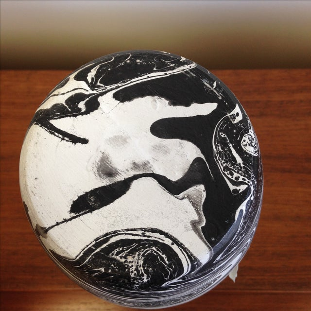 Hand Painted Marbelized Ceramic Vessel - Image 3 of 6