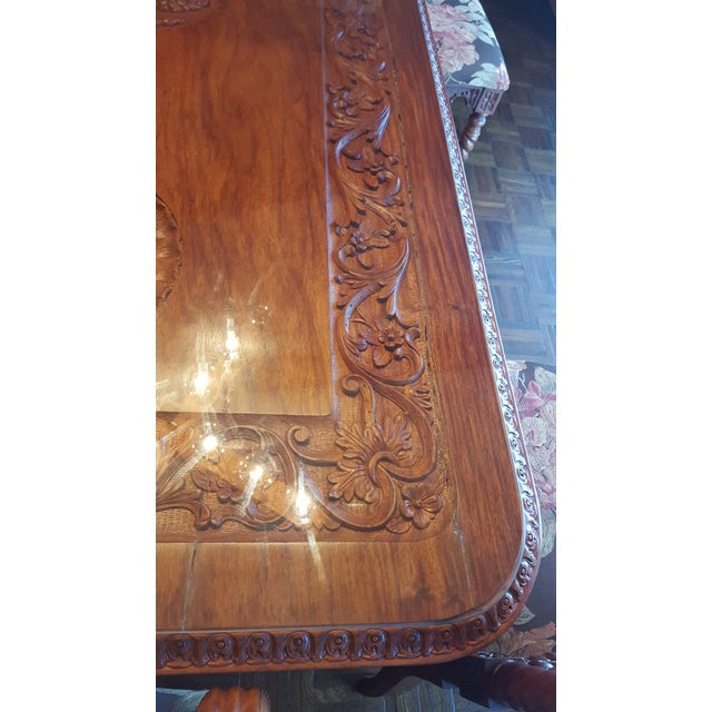 Rare Antique Narra Wood Dining Set - Image 9 of 11