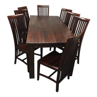 Teak Dining Room Table & Set of Eight Chairs