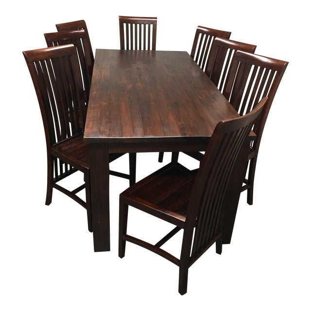 teak dining room table set of eight chairs chairish