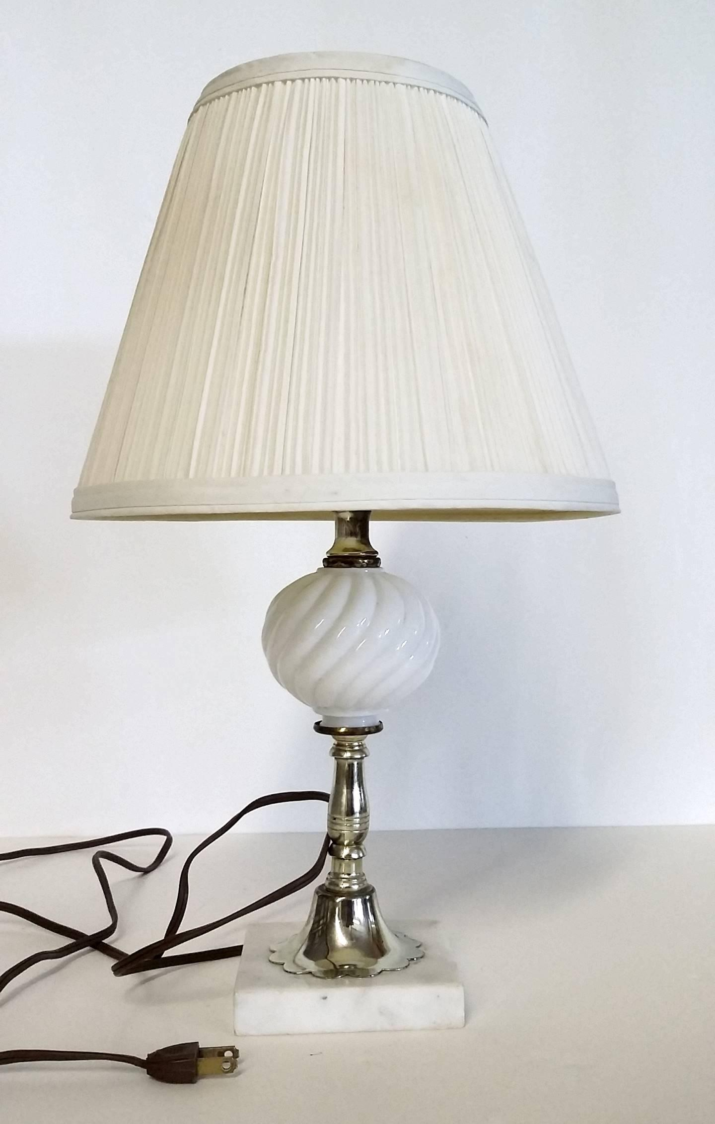 Vintage Italian White Marble Base Milk Glass Lamp   Image 2 Of 6