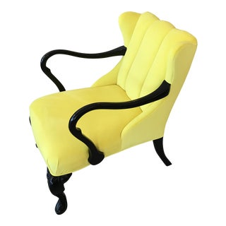 Yellow Velvet Chair With Queen Anne Legs