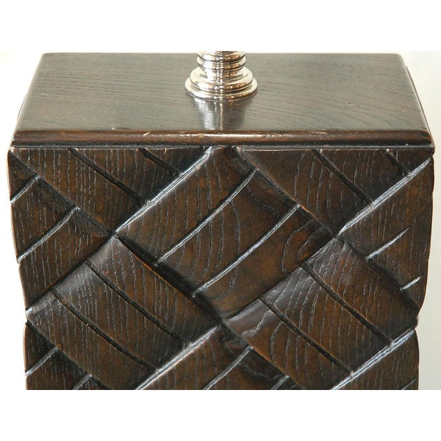 Image of Basket Weave Wood Table Lamp