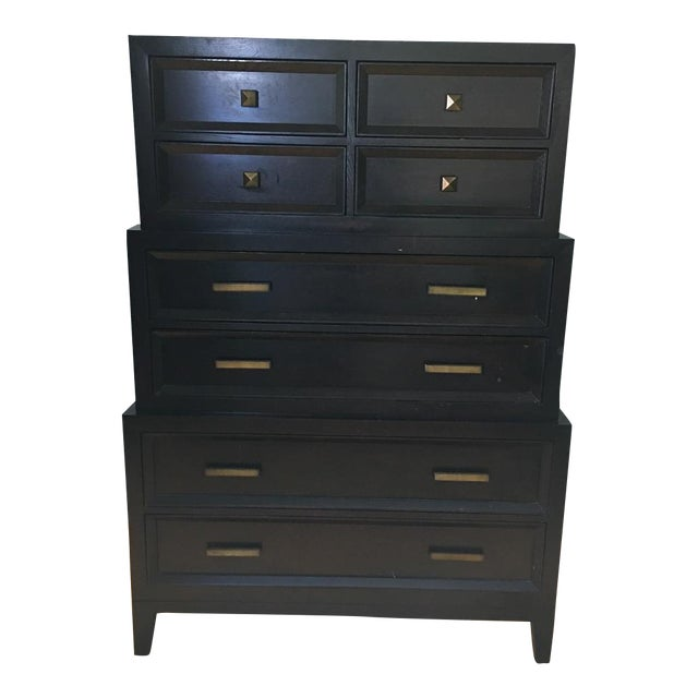 Image of Brown-Black Three-Tier Dresser