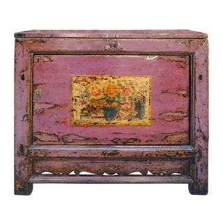 Chinese Floral Cabinet in Rustic Purple