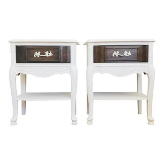 Maison Blanche Magnolia White Cherry Wood Nightstands - a Pair