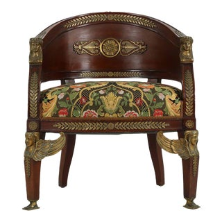 Egyptian Revival Mahogany Tub Chair