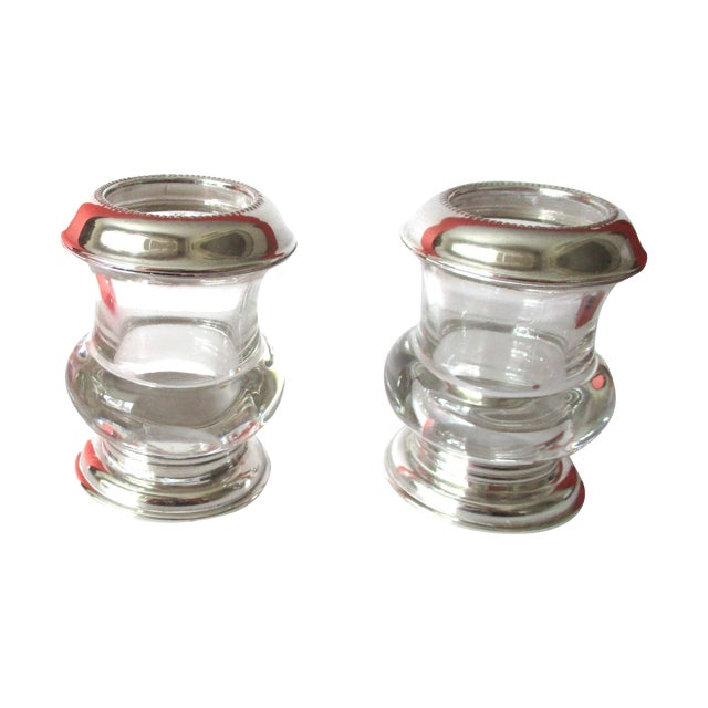 Vintage Silver & Glass Mini-Urn Vases - A Pair - Image 1 of 7
