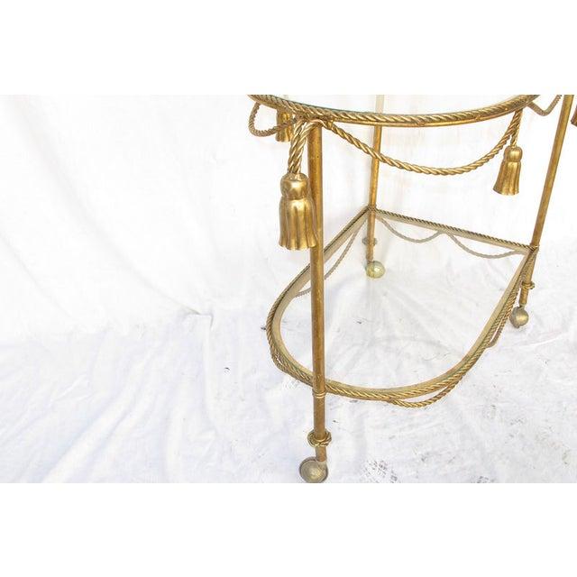 Hollywood Regency Gold Leaf Cocktail Cart - Image 7 of 7
