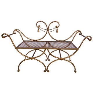 20th Century Gold Italian Rope & Tassel Bench