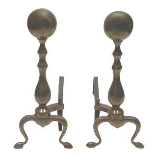 Brass Colnial Andirons - A Pair