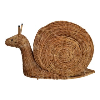 Mid Century Natural Wicker Snail Form Magazine Basket