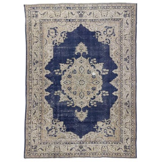 Vintage Navy Beige Turkish Oushak Rug - 8′2″ × 11′3″