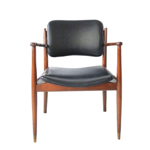 vintage mid century modern black leather chair chairish. Black Bedroom Furniture Sets. Home Design Ideas