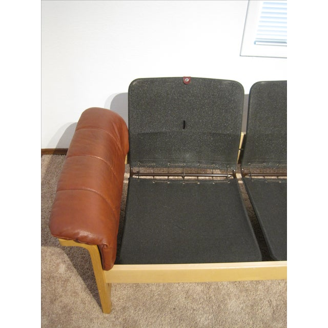Red-Brown Leather Midcentury Modern Sofa - Image 7 of 11