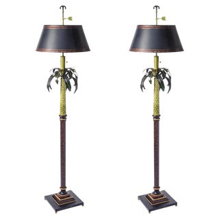 Tole Palm Tree Floor Lamps & Shades - A Pair