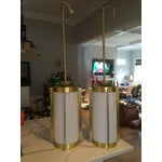 Image of Brass and White Mid-Century Pendants - Pair