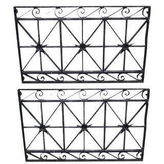 Hand Wrought Iron Black Iron Wall Grates - Pair