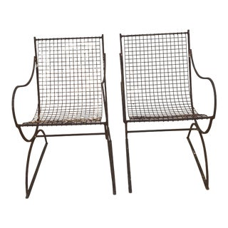 Woodard Style Italian Metal Mesh Sling Chairs - A Pair