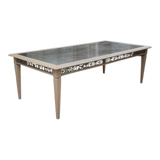 Zinc Top Carved Oak Dining Table