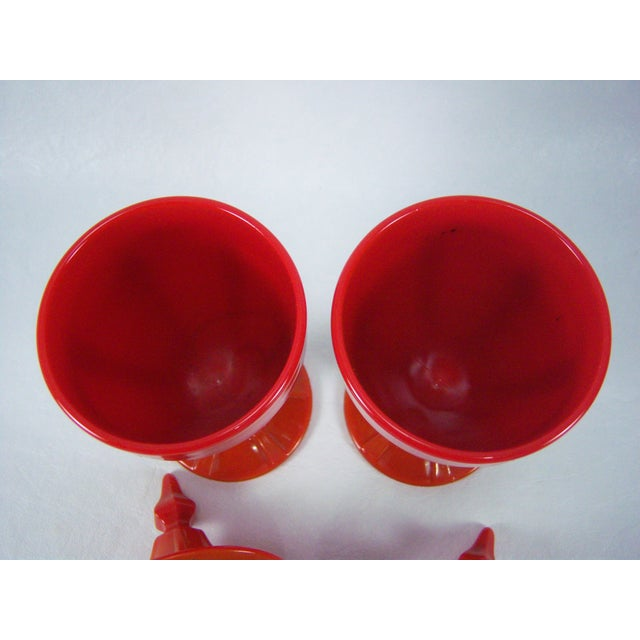 Image of 1920s Red Art Glass Covered Candy Containers