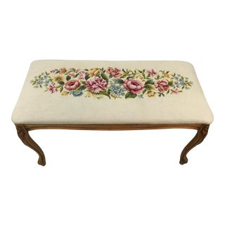 1960s Needlepoint Floral Bench
