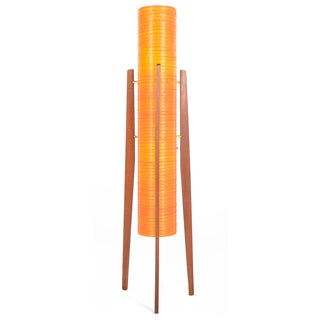 Atomic Orange Fiberglass & Teak Floor Lamp
