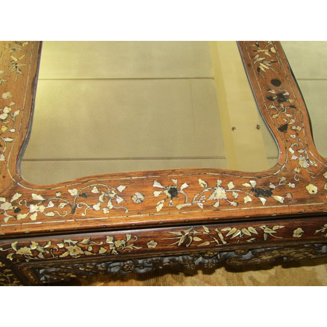 Carved Wood & Mother of Pearl Mirrored Coffee Table - Image 6 of 6