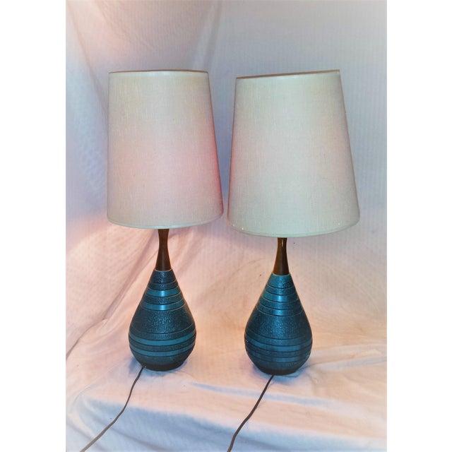 Mid-Century Ceramic Turquoise & Teak Lamps - A Pair - Image 3 of 9