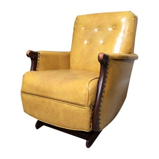 1940s Yellow Vintage Leather Platform Rocker Chair