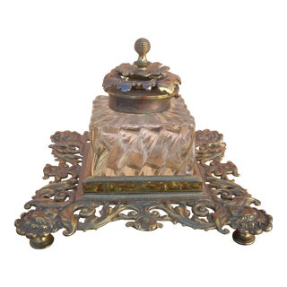 Antique Brass and Glass Inkwell
